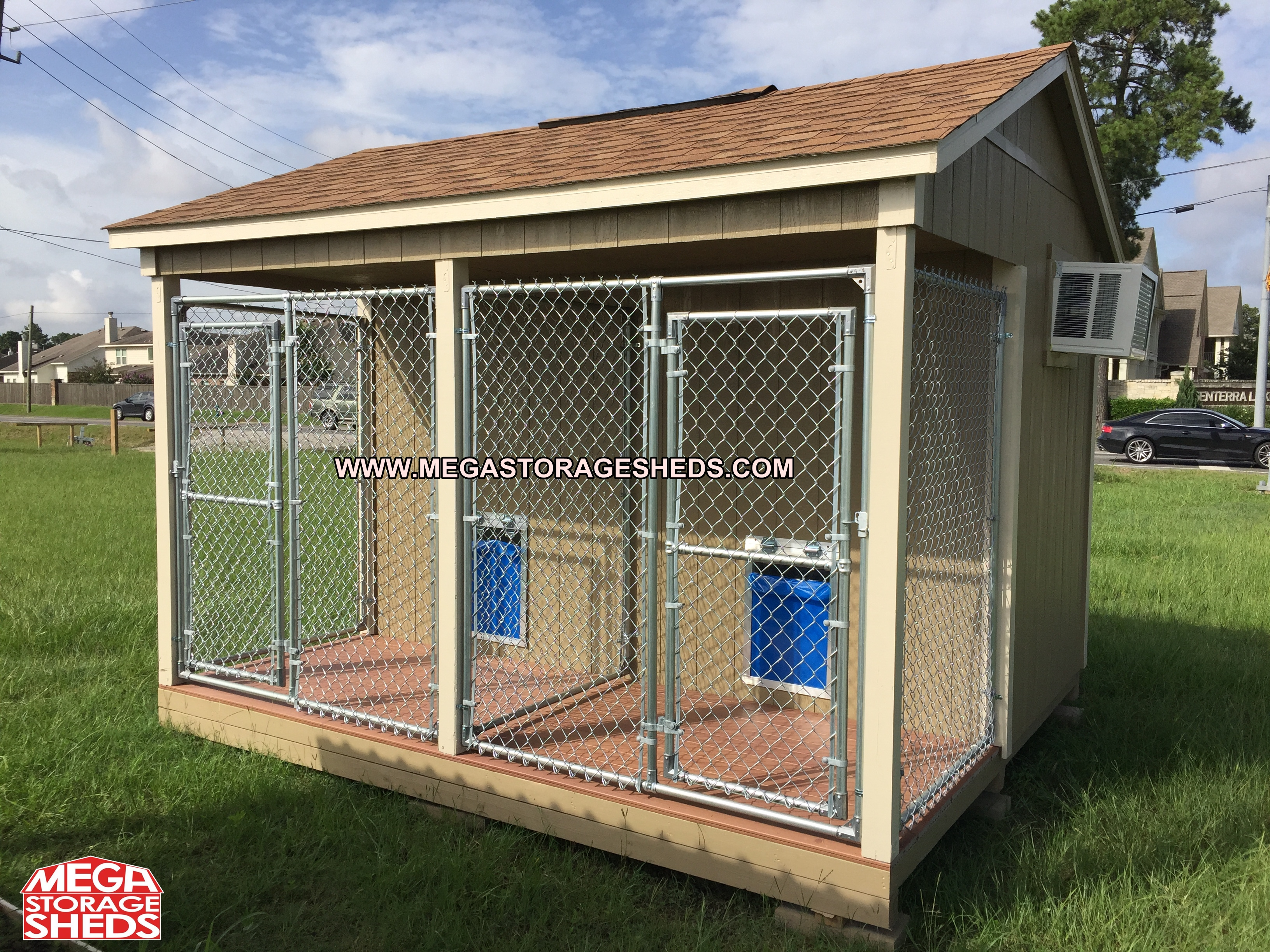 Dog kennel mega storage sheds for Outdoor dog kennel kits