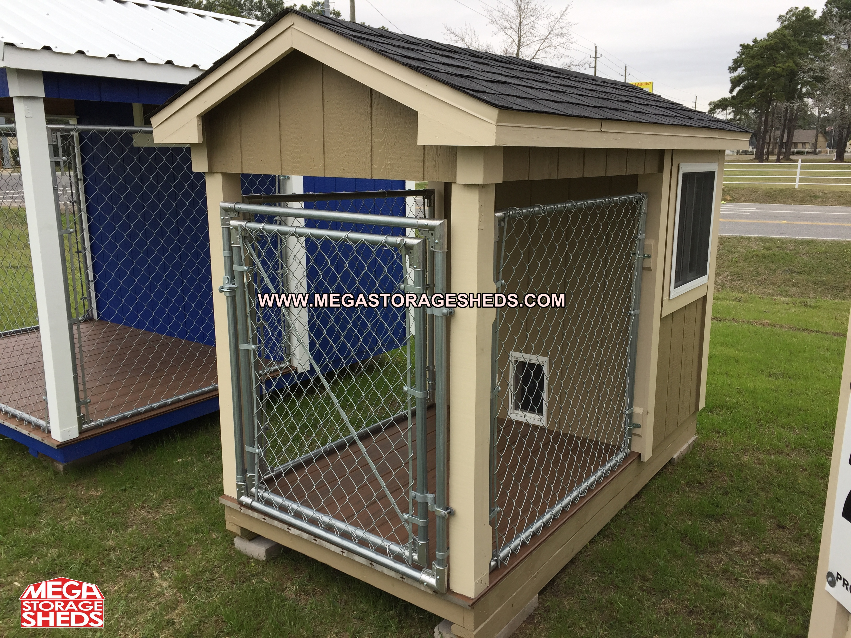 dog kennel mega storage sheds With storage shed with dog kennel